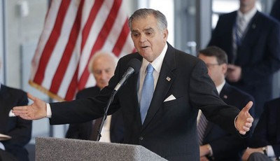 U.S. Transportation Secretary Ray LaHood announces during a news conference in Detroit, Friday, Jan. 18, 2013 that the federal government will award $25 million toward the $140-million