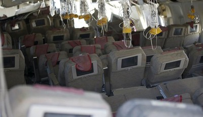 This image released by the National Transportation Safety Board, Sunday, July 7, 2013, shows the interior of the Boeing 777 Asiana Airlines Flight 214 aircraft. The Asiana flight crashe
