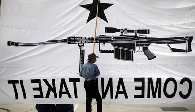 Austin Ehlinger helps hold a banner during a Guns Across America rally at the state capitol, Saturday, Jan. 19, 2013, in Austin, Texas.  Texas officials opposed to new federal gun contr