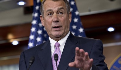 House Speaker John Boehner of Ohio gestures during a news conference on Capitol Hill in Washington, Thursday, July 11, 2013, where he talked about immigration reform, student loans, and