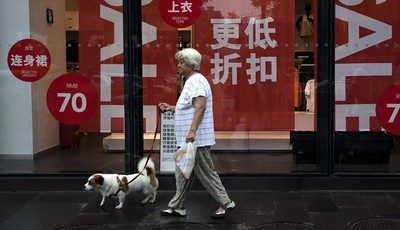 A Chinese woman carries a dog walks past a fashion boutique having a sale at a shopping mall in Beijing, China Monday, July 15, 2013. China