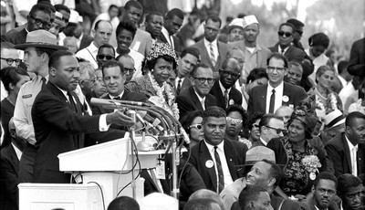 "FILE - In this Aug. 28, 1963 file photo, the Rev. Dr. Martin Luther King Jr., head of the Southern Christian Leadership Conference, speaks to thousands during his ""I Have a Dream"" speec"