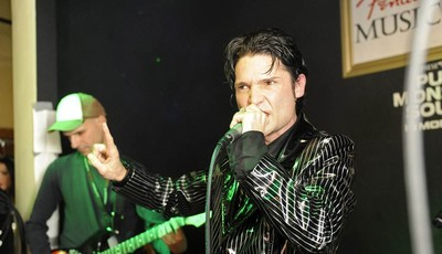IMAGE DISTRIBUTED FOR FENDER - Corey Feldman performs at the Fender Music lodge during the Sundance Film Festival on Saturday, Jan. 19, 2013, in Park City, Utah. (Photo by Jack Dempsey/