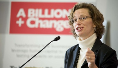 FILE - In this Nov. 3, 2011 photo provided by A Billion + Change, Points of Light CEO Michelle Nunn speaks at the launch of A Billion + Change, a national campaign to mobilize billions