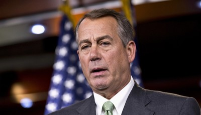 House Speaker John Boehner of Ohio meets with reporters on Capitol Hill in Washington, Thursday, July 25, 2013. Boehner elevated his criticism of fellow Republican Rep. Steve King over