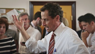 """Anthony Weiner, New York mayoral candidate, speaks during a news conference, Thursday, July 25, 2013, in New York. Weiner introduced his proposal for a """"non profit czar"""" should he becom"""