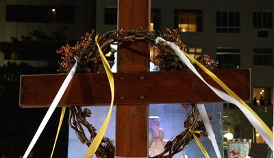 A crown of thorns hangs from the World Youth Day Cross during the Stations of the Cross service, on the Copacabana beachfront in Rio de Janeiro, Brazil, Friday, July 26, 2013. The cross