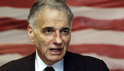 FILE - In this April 27, 2008 file photo, Ralph Nader speaks to supporters as he campaigns for his 2008 independent presidential bid in Waterbury, Conn. Nader is planning the American M