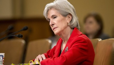 FILE - In this April 12, 2103 file photo, Health and Human Services (HHS) Secretary Kathleen Sebelius testifies on Capitol Hill in Washington.  Just eight weeks remain before uninsured