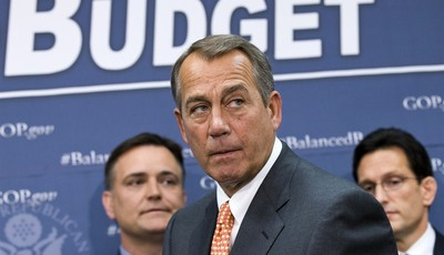FILE  - In this April 10, 2013, file photo House Speaker John Boehner of Ohio, flanked by House Majority Leader Eric Cantor of Va., right, and Rep. Luke Messer, R-Ind., meet with report
