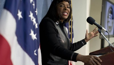 Rep. Terri Sewell, D-Ala., gestures as she speaks during a news conference at the National Press Club in Washington, Tuesday, Jan. 22, 2013, to announce plans to ask for the Congression