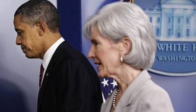 FILE - In this Feb. 10, 2012, file photo, President Barack Obama and Health and Human Services  Secretary Kathleen Sebelius leave the Brady Press Briefing Room of the White House in Was