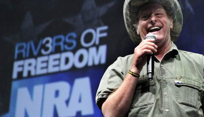 FILE - In this May 1, 2011 file photo, musician and gun rights activist Ted Nugent addresses a seminar at the National Rifle Association