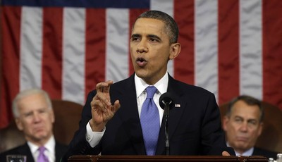 FILE - In this Feb. 12, 2013, file photo, President Barack Obama, flanked by Vice President Joe Biden and House Speaker John Boehner of Ohio, gestures as he gives his State of the Union