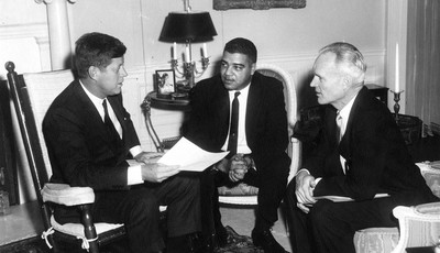 This photo provided by the Kennedy Library, show eting with National Urban League officials. President Kennedy (in rocking chair) meeting with National Urban League Executive Director W
