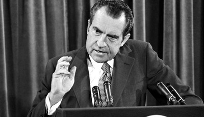 In this June 29, 1972, file photo, President Richard Nixon gestures during his news conference in Washington. As Barack Obama arrives in Israel for his first trip there as president, a