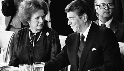 FILE - This is a  Sunday, June 6, 1982 file photo of U.S. President Ronald Reagan and Britain