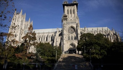 FILE - Scaffolding is seen on the Washington National Cathedral in this Nov. 12, 2011 file photo taken before the consecration service of the first female Bishop of Washington, Rev. Mar