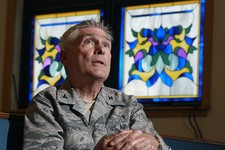 -                FILE - In this Wednesday, June 27, 2012 file photo, U.S. Air Force chaplain Col. Timothy Wagoner sits in the McGuire Air Force Base chapel at Joint Base McGuire-Dix-Lakehurst in Wrights