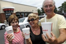 -                Brenda Howard, left, joined with her friends, Cecelia Pegram and Hines Pegram, at the Chick-fil-A in Myrtle Beach during lunch, Wednesday, Aug. 1, 2012. Chick-fil-A supporters are eatin