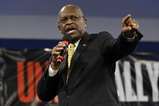 -                Former Republican presidential hopeful, businessman Herman Cain speaks during a Unity Rally Sunday Aug. 26, 2012, in Tampa, Fla. (AP Photo/Chris O'Meara)