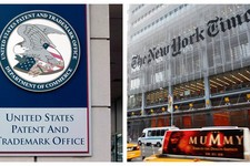 -                This combination of Associated Press file photos shows the The U.S. Patent and Trademark Office in Alexandria, Va., left, and The New York Times building in New York, right. The Times i