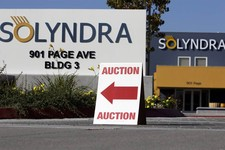 -                FILE - This Monday, Oct. 31, 2011 file photo shows an auction sign at the bankrupt Solyndra headquarters in Fremont, Calif. before an auction. The bankrupt solar company Solyndra has be