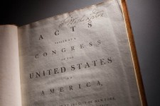 -                This undated handout photo provided by George Washington's Mount Vernon Estate & Gardens, shows George Washington's annotated copy of the Constitution and Bill of Rights.  (AP Photo/Mou