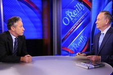 "-                FILE - This Sept. 22, 2010 file photo shows Comedy Central's Jon Stewart from ""The Daily Show with Jon Stewart,"" left, and and political pundit Bill O'Reilly during an interview for ""Th"