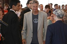 -                In this Sept. 21, 2012 photo, Libertarian Party presidential nominee Gary Johnson, right, greets  students at Macalester College in St. Paul, Minn.  Third-party candidates Johnson and V