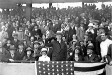 -                FILE - In this Oct. 4, 1924, file photo, U.S. President Calvin Coolidge throws out the ball for the opening game of the 1924 World Series between the Washington Senators and the New Yor