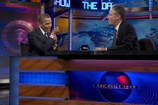 "-                President Barack Obama talks with Jon Stewart during a taping of his appearance on ""The Daily Show with John Stewart"", Thursday, Oct. 18, 2012, in New York. (AP Photo/Carolyn Kaster)"