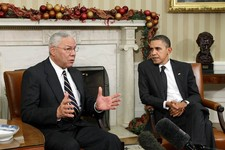 -                FILE - In this Dec. 1, 2010 file photo, former Secretary of State Colin Powell meets with President Barack Obama, in the Oval Office at the White in Washington. Powell, a longtime Repub
