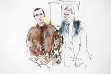 -                In this courtroom sketch, Jared Loughner is lead into the courtroom by a U.S. Marshal prior to sentencing in U.S. District Court Thursday, Nov. 8, 2012, in Tucson, Ariz. U.S. District J