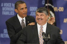 -                File- This Aug. 4, 2010 file photo shows President Barack Obama standing with AFL-CIO Presidet Richard Trumka after he spoke about jobs and the economy at the AFL-CIO Executive Council