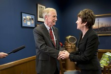 -                Sen. Susan Collins, R-Maine meets with Sen.-elect Angus King, I-Maine in her office on Capitol Hill in Washington, Tuesday, Nov. 13, 2012, to discuss committee assignments and how they'