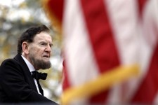-                Jim Getty, portraying President Abraham Lincoln, delivers his rendition of the Gettysburg Address during a ceremony to mark the 149th anniversary of Lincoln's speech at Soldier's Nation