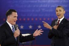 -                FILE - In this Oct. 16, 2012 file photo, President Barack Obama and Republican presidential candidate, former Massachusetts Gov. Mitt Romney exchange views during the second presidentia