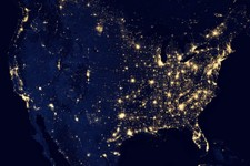 -                In this image provided by NASA, the United States of America is seen at night from a composite assembled from data acquired by the Suomi NPP satellite in April and October 2012. The ima