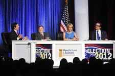 -                FILE - In this June 27, 2012 file photo, from left, moderator Chris Wallace kicks off a discussion with panelists Dick Morris, Laura Ingraham and Charles Krauthammer at the Manufacturer