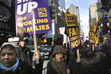 -                FILE - In this Wednesday, Dec. 12, 2012 file photo, cleaners, porters and matrons of theater union SEIU Local 32BJ demonstrate outside the Broadway League's office, before a vote author