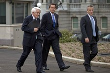 -                From left,  U.S. Chamber of Commerce Chief Executive Tom Donohue, former Minnesota Gov. and GOP presidential candidate Tim Pawlenty, and, Jeffrey Zients of the Office of Management and