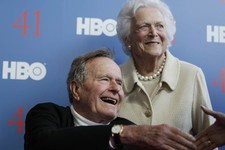-                FILE - In a Tuesday, June 12, 2012 file photo, former President George H.W. Bush, and his wife, former first lady Barbara Bush, arrive for the premiere of HBO's new documentary on his l