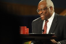-                Supreme Court Justice Clarence Thomas addresses the audience during a program at the Duquesne University School of Law on Tuesday April 9, 2013, in Pittsburgh. (AP Photo/Tribune Review,
