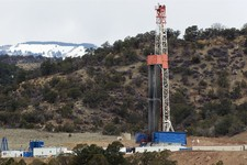 -                In this March 29, 2013 photo, a rig drills for natural gas which will eventually be released using hydraulic fracturing, or fracking, on leased private property outside Rifle, in wester