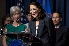-                FILE - In this Wednesday, April 10, 2013 file photo, Food and Drug Administration (FDA) Commissioner Margaret Hamburg, foreground, with Health and Human Services Secretary Kathleen Sebe