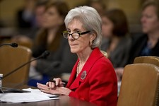 -                Health and Human Services (HHS) Secretary Kathleen Sebelius testifies on Capitol Hill in Washington, Friday, April 12, 2013, before the House Ways and Means Committee hearing on Preside
