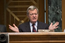 -                Senate Finance Committee Chairman Sen. Max Baucus, D-Mont. questions Health and Human Services Secretary Kathleen Sebelius as she testifies on Capitol Hill in Washington, Wednesday, Apr