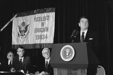 -                FILE - In this Aug. 27, 1984, photo, President Ronald Reagan addresses a meeting of teachers and administrators in Washington from outstanding secondary schools across the nation. U.S.