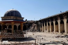 -                This journalism image provided by Aleppo Media Center AMC which has been authenticated based on its contents and other AP reporting, shows the damaged famed 12th century Umayyad mosque